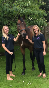 Left to right: Victoria Dawson and Emma Jones with the stallion Royaldik who is currently standing at stud at B&W Equine