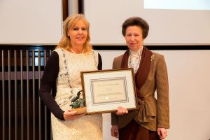 2016 Sue Martin BHSII receiving the Sir Colin Spedding Award from HRH The Princess Royal, President of the National Equine Forum.