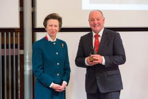 Dr Simon Curtis receiving the Sir Colin Spedding Award, presented by HRH The Princess Royal, President of the National Equine Forum