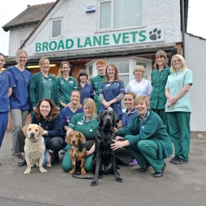 This photo shows the vet practice team outside the front of the practice
